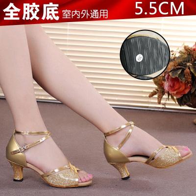 因樂思(YINLESI)女式拉丁舞鞋女成人跳舞鞋女舞蹈鞋中跟軟底交誼舞鞋廣場舞鞋春夏