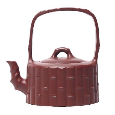 宜興紫砂壺手工 大紅袍提梁款 茶壺刻禮品懷舊手把功夫茶具沏茶送禮佳品創意簡約