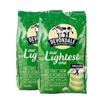 2件裝| 德運Devondale 高鈣脫脂成人牛奶粉1kg/袋 澳洲 脫脂補鈣 澳大利亞進口奶粉 1000g袋裝奶粉