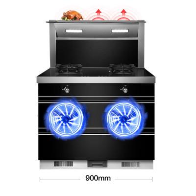 欧尼尔(OUNIER) LX6-S-2侧吸一体式一体机双电机自动清洗抽油烟机灶具消毒柜 21立方 液化气 集成灶环保灶具