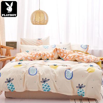 花花公子(PLAYBOY)新款小清新全棉四件套簡約時尚印花學生床上用品四件套1.5m/1.8m