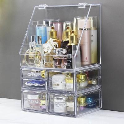 亞克力化妝品收納盒大號透明防塵帶蓋護膚品置物架梳妝臺桌面整理