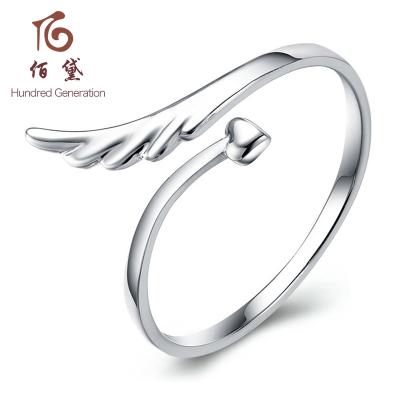 佰黛 925银个性翅膀尾戒指环饰品时尚简约女款 一心一意银天使翅膀开口戒指,经典开口系列,自由调节大小 女士 银戒指
