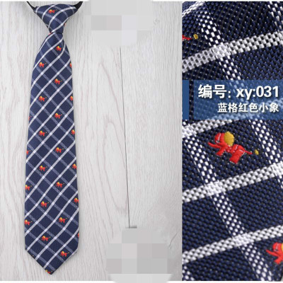 日系短款小领带学生配饰时尚女jk衬衣卡通图案儿童领带免打结xy:031蓝格红色小象