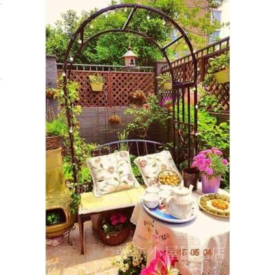 HOTBEE座椅拱形架 爬藤架 坐椅铁艺拱 实用坚实 适合小户型花园 带椅