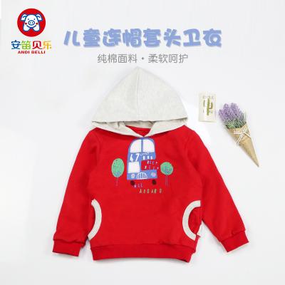 安笛贝乐童儿童通用男女童春季秋季红色连帽纯棉毛圈卫衣中小童上衣外套80-120cm