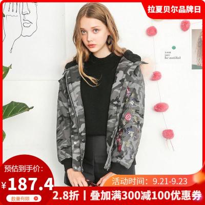 拉夏貝爾 拉貝緹冬季新款韓版寬松百搭面包服迷彩棉衣棉服短外套女60006176