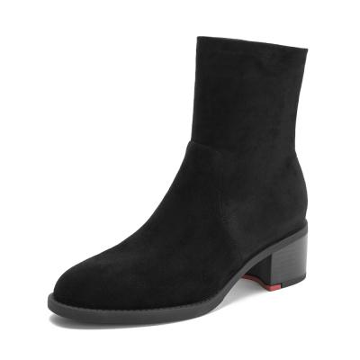 Teenmix/天美意冬商場同款黑色羊絨皮革/紡織品粗跟女中靴AT071DZ8