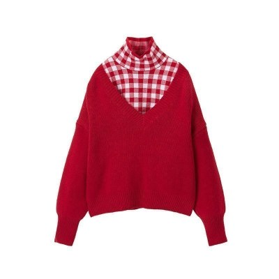 minipeace太平鸟童装女童红色毛衣儿童洋气针织衫两件套春季休闲春秋套头