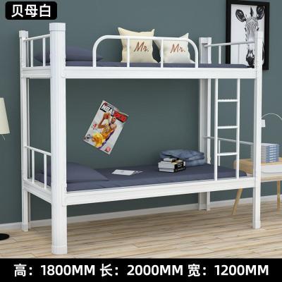 铁艺上下铺员工宿舍高低床钢制双层床0.9米1.2米学校工地子 1800*2000*1200mm(贝母白) 其他只有高低床