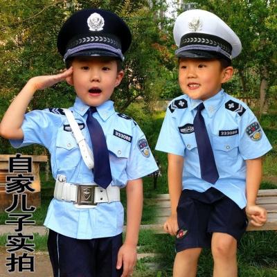 圣誕節兒童警察服演出服小孩交警制服幼兒園男女小軍裝小公安表演服套裝