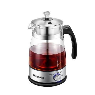 志高煮茶器ZG-Z506 1.2L大容量茶水分離高硼硅玻璃家用煮茶壺黑茶電熱水壺保溫蒸茶壺 升級保溫款+分茶器7件套