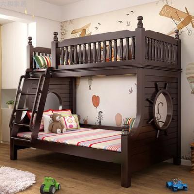 兒童高低床實木床上下床雙層床帶滑滑梯鋪橡木成年二胎美式子母床 直梯床 1350mm*2000mm更多組合形式