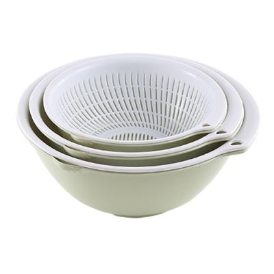 雙層塑料瀝水籃洗菜盆洗菜籃廚房家用客廳果籃洗水果菜籃子水果盤 圓形綠色3件套(6個)【收藏加購贈洗碗巾】