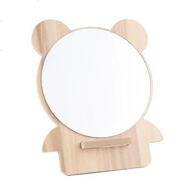 定制木制品化妝鏡 美妝宿舍桌面臺式梳妝臺式鏡 女網紅學生便攜小鏡子 組裝款 圓形 鏡面 1813#木色