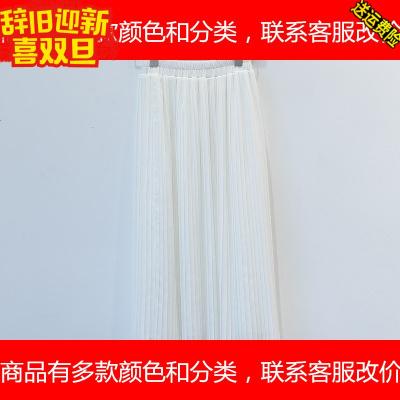 新款夏装中长裙雪纺半身裙显瘦百褶裙大码高腰长裙沙滩裙子女学生