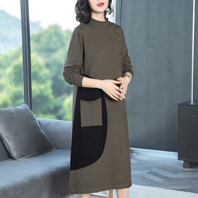秋冬新款半高领长袖毛衣针织连衣裙女洋气休闲运动打底长裙子