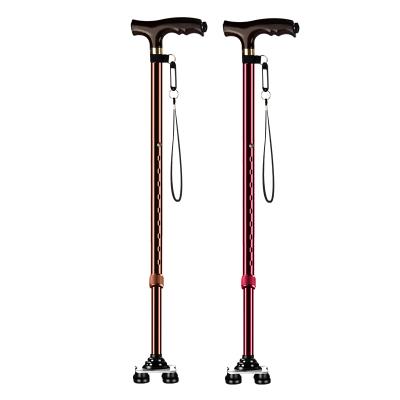 富林老人拐杖小四腳手杖鋁合金帶燈拐杖可伸縮腋下拐棍老年人拐杖