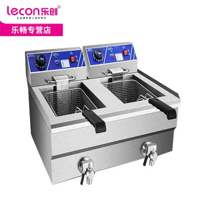lecon乐创26L双缸 加厚商用不锈钢单缸单筛电炸炉油炸锅炸薯条机油炸机油锅机