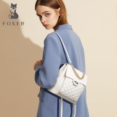 金狐貍牛皮小香風菱格雙肩背包包女2020新款潮時尚兩用單肩斜挎包