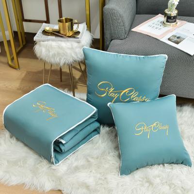 溫韻東方家紡 抱枕被輕奢刺繡兩用辦公室靠墊靠枕午睡被汽車沙發床頭靠枕空調被40X40cm50X50cm