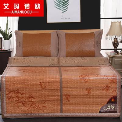艾瑪諾歐家紡 碳化涼席雙面用竹席 可折疊涼席1.8米席子1.5米床席雙人宿舍1.2 床竹席藤席涼席草席