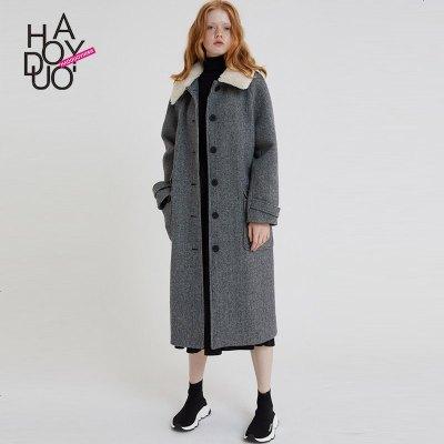 Haoduoyi秋冬款复古仿皮草可拆卸翻领外套格纹修身长款毛呢大衣女