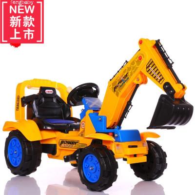 儿童玩具挖掘机可坐可骑挖土机电动男孩大号勾机遥控车小孩四轮车电动玩具男孩女孩开大脑宝宝早教男女孩宝宝冬夏两用