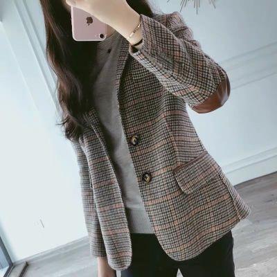 芷臻zhizhen2020格子小西裝外套女2020春秋新款短款韓版大碼復古女士西服上衣外套