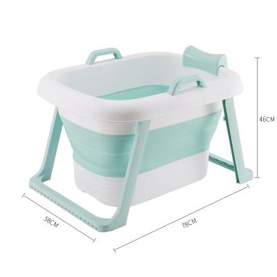 婴儿浴盆折叠泡澡桶智扣成人折叠浴桶加厚家用 儿童款折叠绿色(上下)