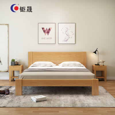 钜晟 新中式 实木床员工宿舍床办公接待床简易实木床1.5米JSMC-1500-1原木色 黑胡桃色 床+床垫