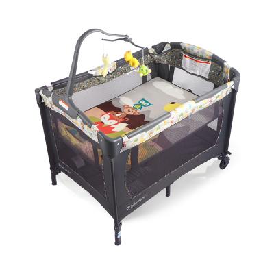 美国BABY TREND婴儿床宝宝摇篮床加长加大;可储物;带软靠;带摇篮;可游戏拼接折叠带尿布台新生儿游戏床自营正品新品