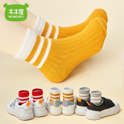 木木屋时尚春秋条纹彩童袜3双装0-9岁