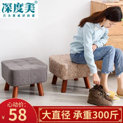 唐臻實木大直徑凳子歐美式矮凳家用小板凳客廳成人布藝方凳復古換鞋凳