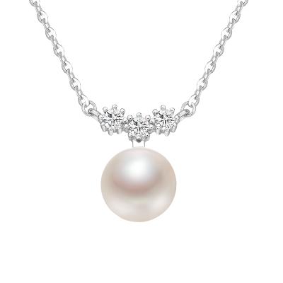 京潤珍珠 洛可可 銀S925鑲淡水珍珠吊墜項鏈 8-9MM饅頭形項鏈鎖骨鏈女時尚珠寶 寵自己送媽媽百搭款 白色