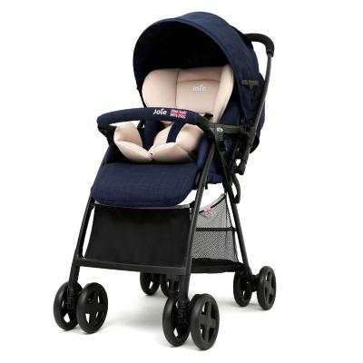 英國巧兒宜JOIE嬰兒推車高景觀可坐可躺輕便折疊雙向可換向寶寶手推車芙洛特英倫系列英國藍