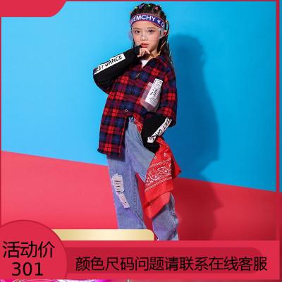 女童嘻哈套装元旦儿童街舞服装秋少儿hiphop演出服女孩爵士舞潮装