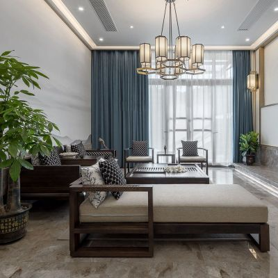 HOTBEE新中式沙发 实木组合禅意现代客厅布艺简约样板房中国风家具定制