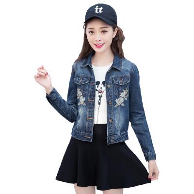 朗妮姿(LANGNIZI) 牛仔外套女 2020春季新款韓版時尚玫瑰花刺繡百搭短款長袖女士牛仔服外套 W119