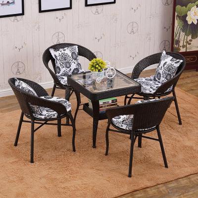 唐臻藤椅三件套陽臺茶幾組合沙發椅子單室內戶外客廳現代簡約休閑桌椅