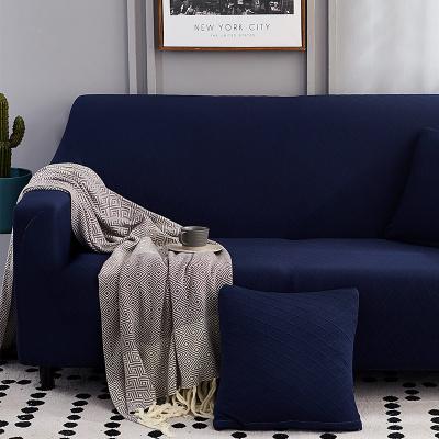 沙发套罩全包组合沙发毛绒沙发套罩全包万能套布艺沙发垫套冬季防滑弹力 深蓝色宝石蓝-提花 单人(90-145cm)弯曲测量