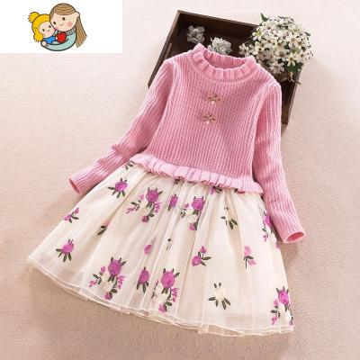 小女孩公主裙 洋气韩版3-4岁女童秋装连衣裙5儿童6长袖7毛衣裙子8