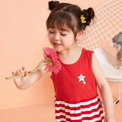 【1件3折價:32.7】moomoo童裝女幼童背心裙夏季新款小寶寶撞色條紋吊帶連衣裙夏