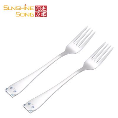 阳光飞歌 304不锈钢叉子 创意儿童卡通小熊叉子水果叉餐叉2支装