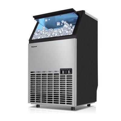 沃拓萊制冰機55kg商用奶茶店制冰機 水泵吸水桶裝水進水方冰造冰機冰塊制作機