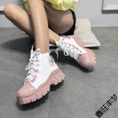 富悅美歐洲站女鞋2020春季增高女鞋子真皮系帶厚底休閑運動高幫鞋潮