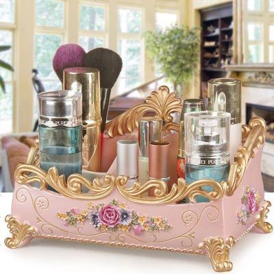 大號網紅化妝品收納盒樹脂非塑料梳妝臺整理桌面護膚品首飾置物架