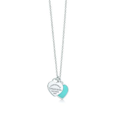 蒂芙尼(Tiffany & Co.)S925銀項鏈 27125107銀鑲雙心形藍色琺瑯吊墜迷你項鏈