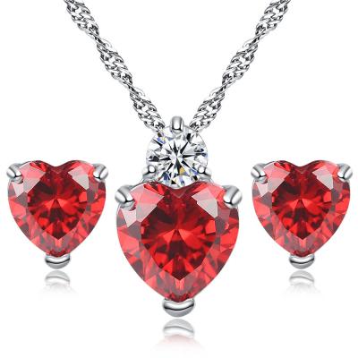 原恩 永恒之愛水晶鋯石吊墜耳釘項鏈套裝情人節送女友圣誕禮物