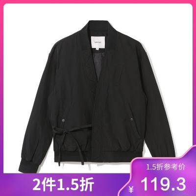 商場同款2019冬季新款男式棉服韓風系帶開衫短款休閑外套